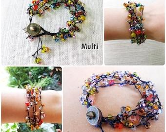 Colorful Glass beads, Wax String Bracelet Handmade Jewelry, Brass Coins. (JB1007)