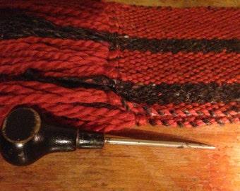the cobbler's daughter, hand-woven orange, gray alpaca wool scarf..by The Weaver of Words...weaving fibers & fables