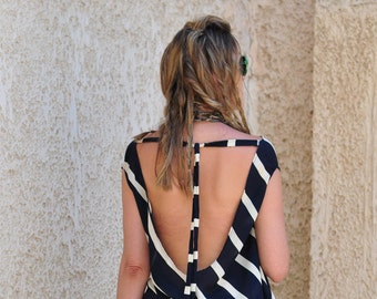 Draped, Open Back, NAVY STRIPES tunic, Summer, Party, Loose fit, Cruise, Crepe TOP