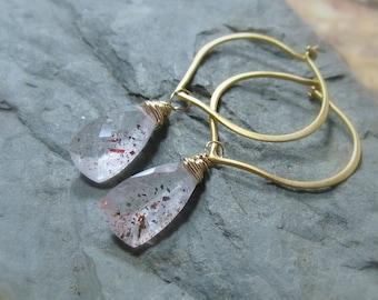 Gold Hoops - Lepidocrosite Gemstone 24K Gold Vermeil Lotus Earrings, Ready to Ship