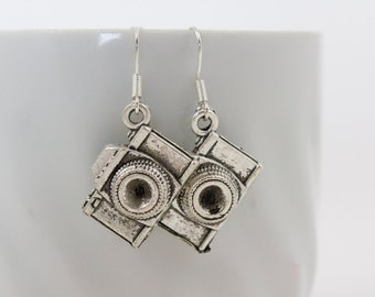 Silver Camera Earrings - Photographer Earrings, Photographer Gift
