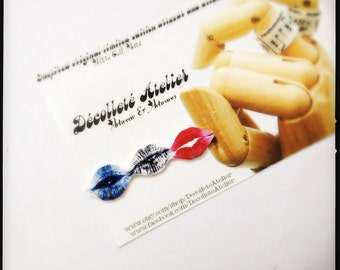 Ménage a XXX French Kiss SWAK Lips Lapel Pin - Wearable Kiss Colour Illustration Brooch