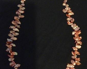 Keshi Pearl Necklace with Rose Gold Plated 925 Silver Clasp