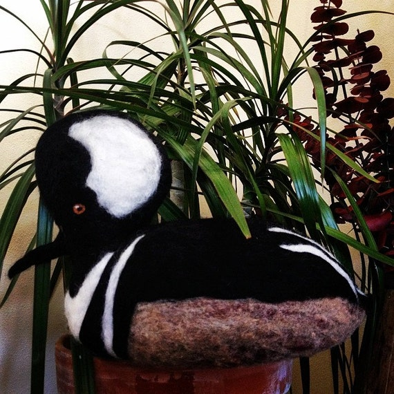 Hooded Merganser Duck  100% natural sheep wool Free Shipping within the U.S.