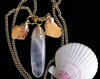 Clear quart necklace - quartz and etched shell fragment - stone and shell - natural jewelry
