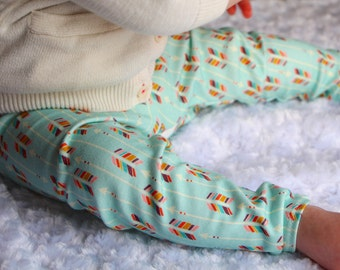Organic Baby Leggings - Arrows on Mint Background -  Made with Spoonflower designer artisan fabric
