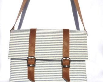 Nautical Blue Stripes Canvas and leather Bicycle Bag/ handlebar bag/ shoulder bag