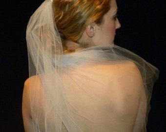 Elbow length veil, handbeaded pearl embellishment, white; Amanda Marie