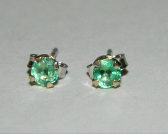 14k Solid White Gold Emerald Earrings