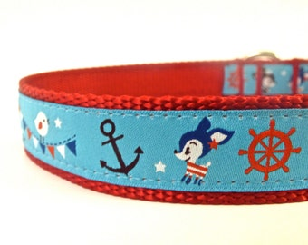 BACK to SCHOOL SALE - Bon Voyage dog collar/ deer dog collar/ ribbon dog collar