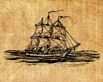 Ship Boat Nautical Marine Clipper Vintage Printable Image INSTANT Download Digital Antique Clip Art Transfer Art Print jpg jpeg png V109