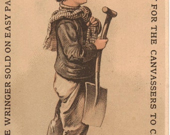 Boy with Shovel Washing Machine Victorian Trade Cards Antique Advertising