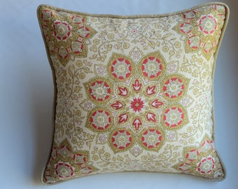 Medallion Pillow Cover in Gold and Red from Jaclyn Smith Home Collection with Trend Fabrics