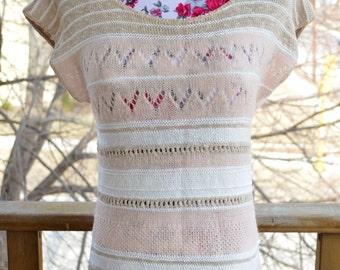 SALE! -- Vintage 80s Beldoch Popper Brown White & Pink Sweater Vest (Size Small or Medium)