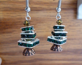 Tipsy Christmas Tree Earrings