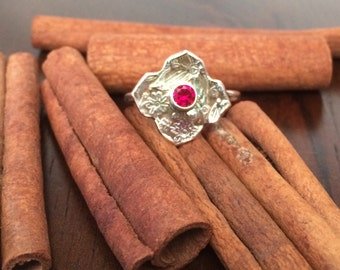 SUMMER SALE 40% OFF Size 8.25 Moroccan Twilight hand stamped fine silver and gem stone ring