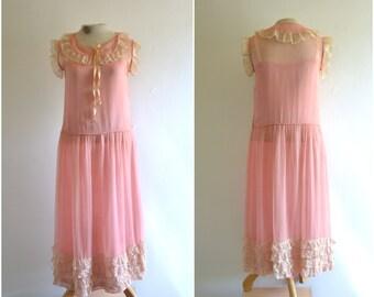 1920s pink silk and cream lace dress // antique drop waist bowtie dress // small // medium