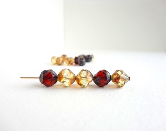 10 x 9mm Czech Glass Beads, Clear and Dark Amber Picasso Central Cut Glass Beads, Picasso Glass Beads CTC0002