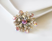 Vintage flower brooch, Silver toned brooch with pink aurora borealis coated stones, Pink Ab coated stones