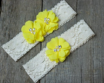 Lemon Sunny Bright Yellow Wedding Garter, Shabby Chic Garter