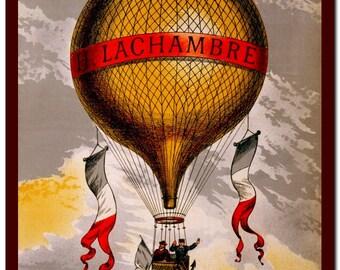 Vintage Poster Victorian History  Art Print: Balloon Illustration Art Print