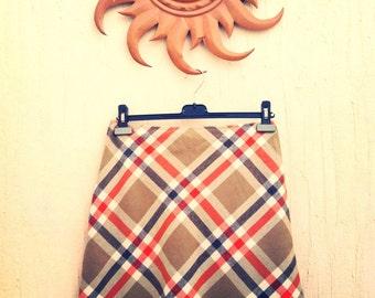 Vintage wool plaid skirt-vintage plaid skirt-vintage brown and orange skirt-vintage orange skirt