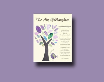 Goddaughter gift - Gift for Goddaughter - Personalized gift for Goddaughter - Gift from Godmother, Gift From Godparents,  Keepsake  - TREE