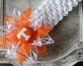 Tennessee Volunteers inspired Flower Hair Bow & Optional Headband, Baby Girl Boutique Orange White Loopy ribbon hairbow lined alligator clip