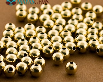 50pc, 5mm Gold Filled Beads, Medium Gold Filled Beads, 5mm Beads, Seamless. 2 Hole Balls, Made in USA 14/20 14kt