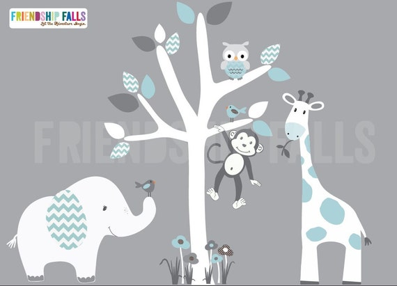 Mini jungle decals small elephant wall decal giraffe decal for Elephant mural nursery