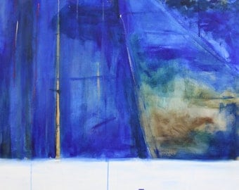 """large blue """"let's try love' painting 32"""" x 50"""""""