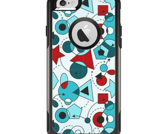 The Red & Blue Abstract Shapes Apple iPhone 6 Otterbox Commuter Case Skin Set