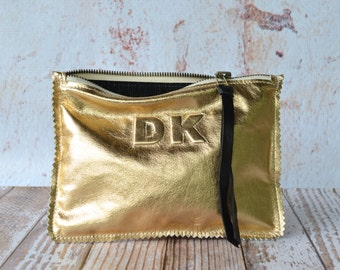 Small Metallic Gold Leather Clutch, Leather Pouch, Leather Monogram, Leather carryall, custom handmade to order with Initials