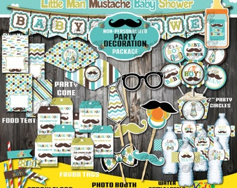 Instant Download! Little Man Baby shower Decoration Package, Mustache Baby shower printable, printable mustache party,Little Man Party Decor