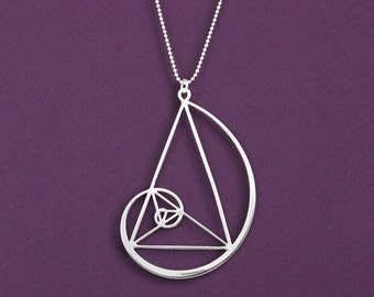golden triangle with Golden spiral necklace - Fibonacci pendant - geometry gift - science