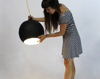 Paper mache lamp Black Drop, lamp, pendant light, hanging lamp, pendant lamp, paper lamp, industrial lamp, paper pulp lamp, eco friendly