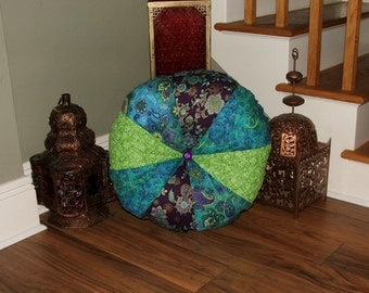 Purple, Turquoise and Lime Green Extra Large Stuffed Tufted Round Pillow/ Floor Pillow ...