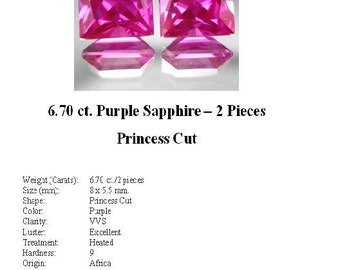 Synthetic Sapphires - Drop Dead Gorgeous Pair of Purple Princess Cut Sapphire Look-Alikes totaling 6.70 cwt...