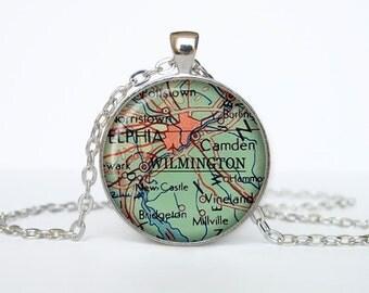 Wilmington  map pendant, Wilmington  map necklace, Wilmington  map jewelry, Wilmington  North Carolina