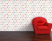 Hearts Pattern Geometrical Modern Wallpaper  - Removable and Repositionable decal Turquoise, Teal, Red, Yellow, Green, Pink, Orange