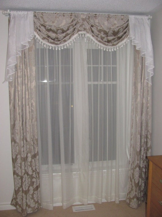Items Similar To Curtains With Swags And Jabots On Etsy