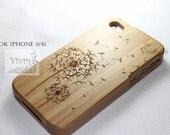 wood iphone 4 case, wood iphone 4s case, iphone 4 wood case, flying dandelion iphone 4 case - wood iphone case, apple logo, monogram
