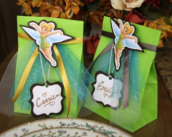 Tinkerbell Party Bags with Name Tags SET OF TEN