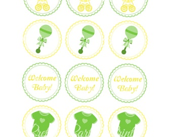 Printable Cupcake Toppers Baby Shower Gender Neutral 2 inch Round Circles for Cupcake Toppers, Bag Tags, Thank You Favors