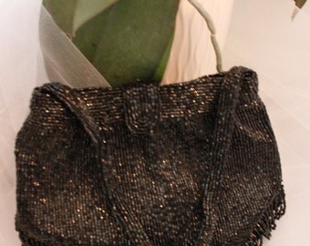 Mint! Evening bag by RICHERE for Dale's Of Brooklyn JET BLACK beaded vintage beauty ,made in Japan.