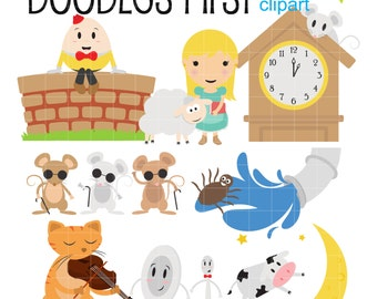 Nursery Rhyme Characters Digital Clip Art for Scrapbooking Card Making Cupcake Toppers Paper Crafts