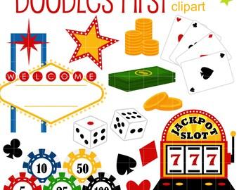 Night at Las Vegas Digital Clip Art for Scrapbooking Card Making Cupcake Toppers Paper Crafts