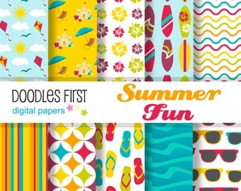 Summer Fun Digital Paper Pack Includes 10 for Scrapbooking Paper Crafts