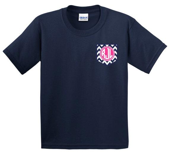 Monogram pocket tee personalized custom chevron stripe faux for Custom t shirts with pockets