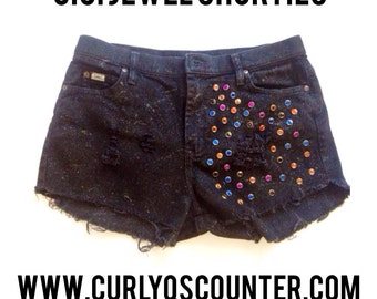 Cici Jewel Shorts - Distressed studded shorts -distressed shorts - distressed black shorts - black studded shorts - distressed studded denim